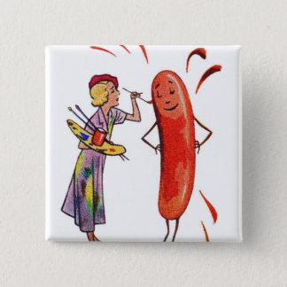 Retro Vintage Kitsch Frankfurter Hot Dog Artist Button