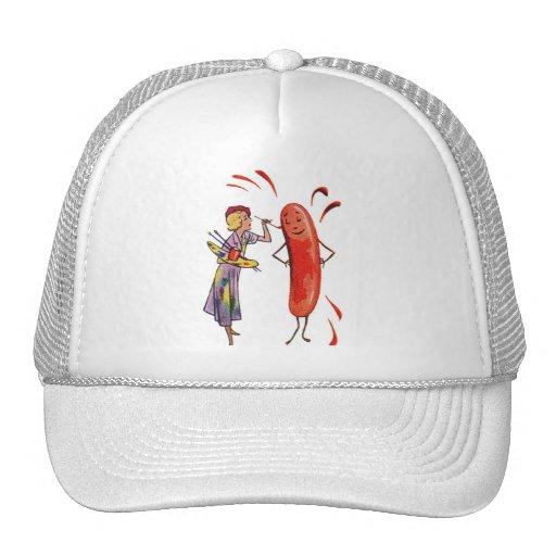 Retro Vintage Kitsch Frankfurter Hot Dog Artist Trucker Hat