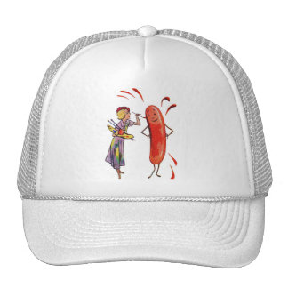 Retro Vintage Kitsch Frankfurter Hot Dog Artist Trucker Hat