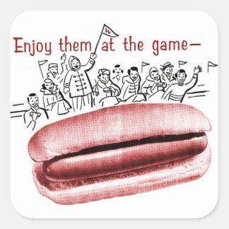 Retro Vintage Kitsch Frankfurter Wiener Hot Dog Ad Square Sticker