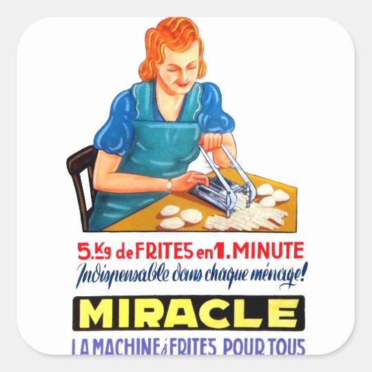 Retro Vintage Kitsch French Fry Frites Dutch Ad Square Sticker