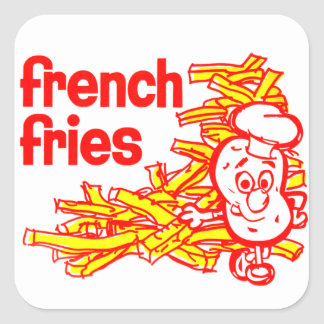 Retro Vintage Kitsch French Fry Package Art Square Sticker