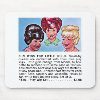 Retro Vintage Kitsch Fun Wigs For Little Girls Ad Mouse Pad