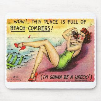 Retro Vintage Kitsch Gag Postcard Beachcomber Girl Mouse Pad