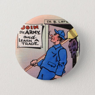 Retro Vintage Kitsch Gag Postcard Join The Army Button