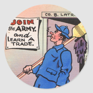 Retro Vintage Kitsch Gag Postcard Join The Army Classic Round Sticker
