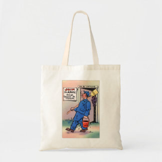 Retro Vintage Kitsch Gag Postcard Join The Army Tote Bag