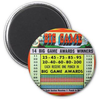 Retro Vintage Kitsch Gambling Punchboard Big Game 2 Inch Round Magnet