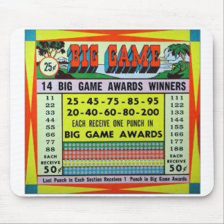 Retro Vintage Kitsch Gambling Punchboard Big Game Mouse Pad