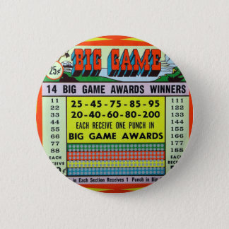 Retro Vintage Kitsch Gambling Punchboard Big Game Pinback Button