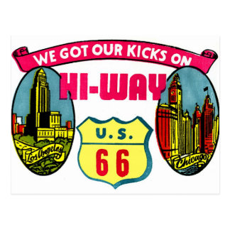 Retro Vintage Kitsch Get Your Kicks on Route 66 Postcard