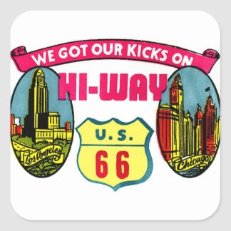 Retro Vintage Kitsch Get Your Kicks on Route 66 Square Sticker