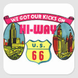 Retro Vintage Kitsch Get Your Kicks on Route 66 Stickers