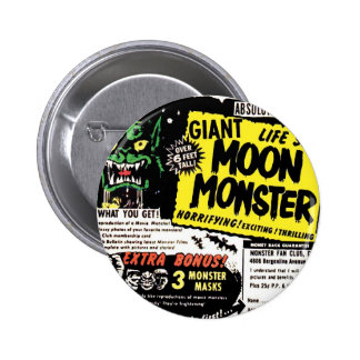 Retro Vintage Kitsch Giant Moon Monster Comic Ad 2 Inch Round Button