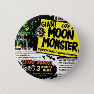 Retro Vintage Kitsch Giant Moon Monster Comic Ad Button