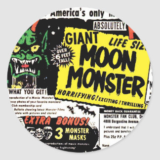 Retro Vintage Kitsch Giant Moon Monster Comic Ad Classic Round Sticker