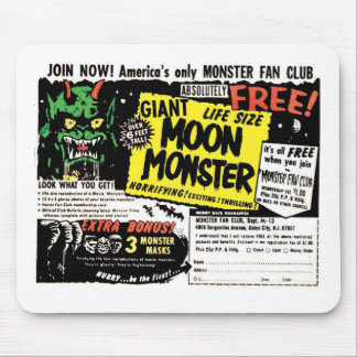 Retro Vintage Kitsch Giant Moon Monster Comic Ad Mouse Pad