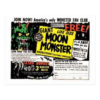 Retro Vintage Kitsch Giant Moon Monster Comic Ad Postcard