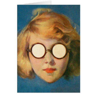 Retro Vintage Kitsch Girl With Headlight Glasses Card