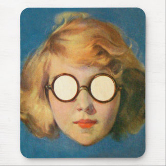 Retro Vintage Kitsch Girl With Headlight Glasses Mouse Pad