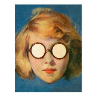 Retro Vintage Kitsch Girl With Headlight Glasses Postcard