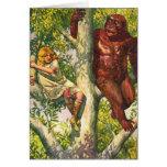Retro Vintage Kitsch Gorilla & Girl in Tree