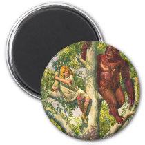 Retro Vintage Kitsch Gorilla & Girl in Tree Magnet