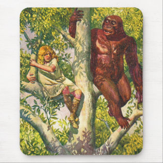 Retro Vintage Kitsch Gorilla & Girl in Tree Mouse Pad