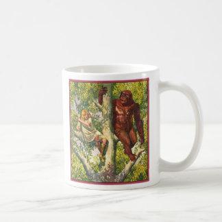 Retro Vintage Kitsch Gorilla & Girl in Tree Coffee Mugs