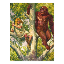 Retro Vintage Kitsch Gorilla & Girl in Tree Postcard