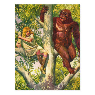 Retro Vintage Kitsch Gorilla & Girl in Tree Postcard