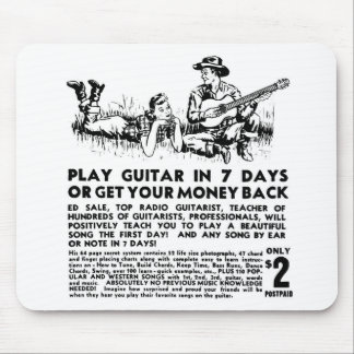 Retro Vintage Kitsch Guitar Play Guitar in 7 Days Mouse Pad
