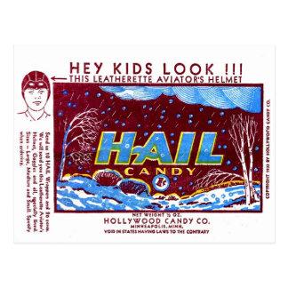 Retro Vintage Kitsch Hail Candy Wrapper Postcard