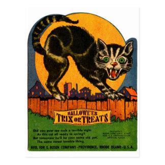 Retro Vintage Kitsch Halloween Black Cat Candy Postcard