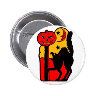 Retro Vintage Kitsch Halloween Black Cat Pinback Button