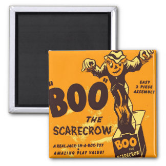 Retro Vintage Kitsch Halloween Boo the Scarecrow 2 Inch Square Magnet
