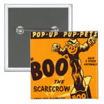 Retro Vintage Kitsch Halloween Boo the Scarecrow Pinback Buttons