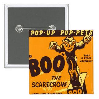 Retro Vintage Kitsch Halloween Boo the Scarecrow Pinback Button