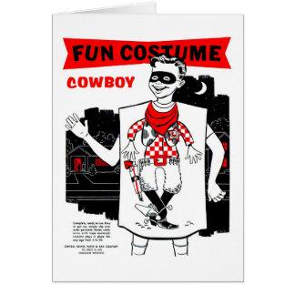 Retro Vintage Kitsch Halloween Cowboy Costume Greeting Card