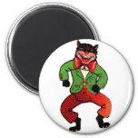 Retro Vintage Kitsch Halloween Dancing Black Cat 2 Inch Round Magnet