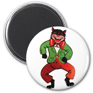 Retro Vintage Kitsch Halloween Dancing Black Cat Magnet