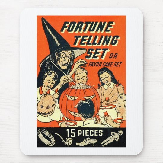 Retro Vintage Kitsch Halloween Fortune Telling Kit Mouse Pad
