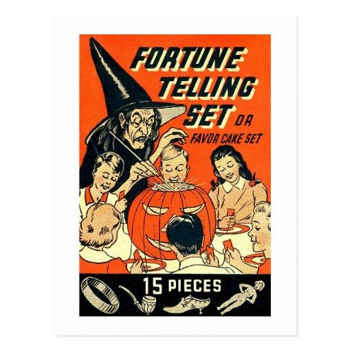 Retro Vintage Kitsch Halloween Fortune Telling Kit Postcard