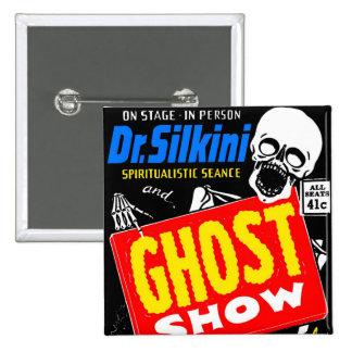Retro Vintage Kitsch Halloween Ghost Show Button