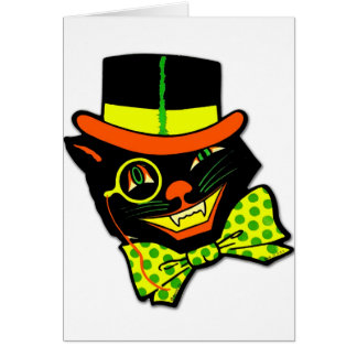 Retro Vintage Kitsch Halloween Hep Cat Daddy Card