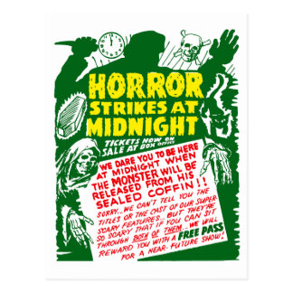 Retro Vintage Kitsch Halloween Horror Show Postcard