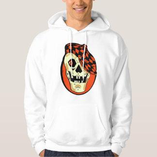 Retro Vintage Kitsch Halloween Hot Rod Skull Hoodie