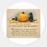 Retro Vintage Kitsch Halloween Invitation Classic Round Sticker