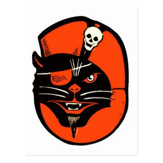 Retro Vintage Kitsch Halloween Pirate Cat Postcard