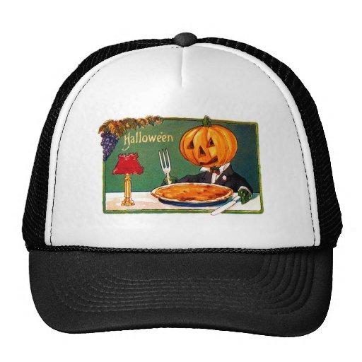 Retro Vintage Kitsch Halloween Pumpkin Eating Pie Hat